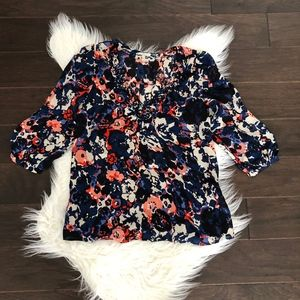 [Joie] 3/4 Sleeve Floral Silk Blouse